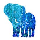 Blue Watercolour Elephant and Baby by Kathie Nichols