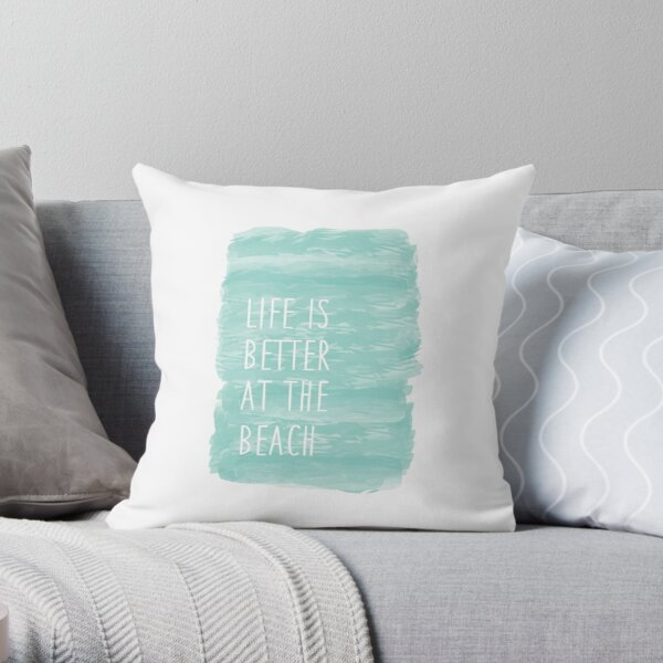 life is better at the beach, blue, watercolor Throw Pillow