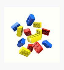 Falling Toy Bricks Art Print