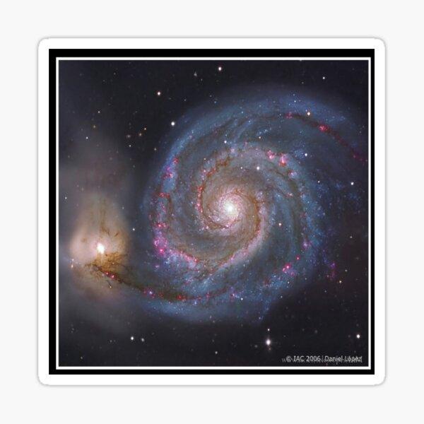 The #Whirlpool #Galaxy #SpiralGalaxy, Astronomy, Cosmology, AstroPhysics, Universe Sticker