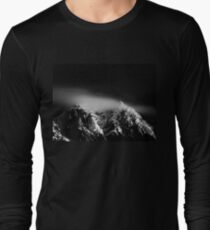 Black and white long exposure of clouds above mountain Long Sleeve T-Shirt
