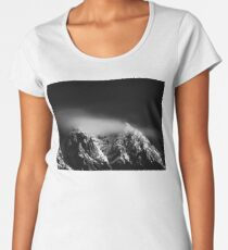 Black and white long exposure of clouds above mountain Women's Premium T-Shirt