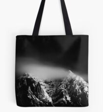 Black and white long exposure of clouds above mountain Tote Bag