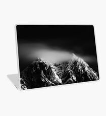 Black and white long exposure of clouds above mountain Laptop Skin