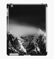 Black and white long exposure of clouds above mountain iPad Case/Skin