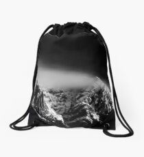 Black and white long exposure of clouds above mountain Drawstring Bag