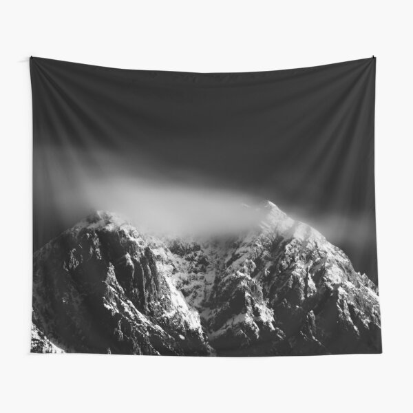 Black and white long exposure of clouds above mountain Tapestry