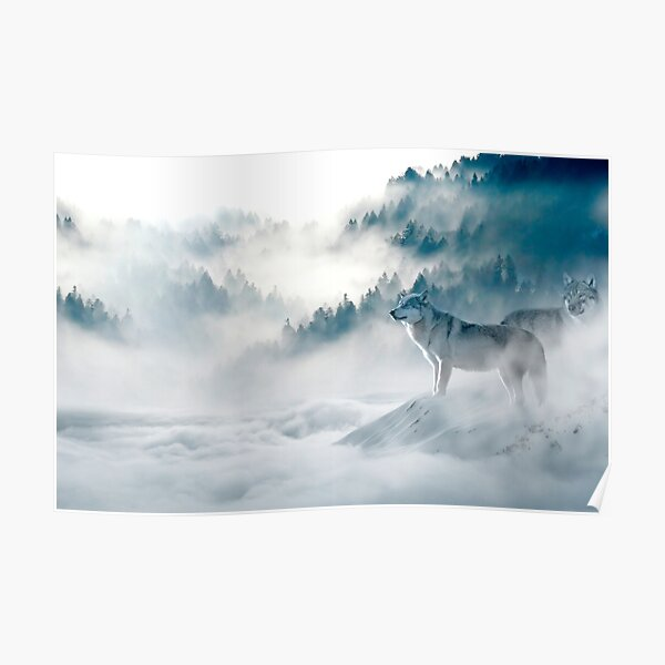Wolves in the fog Poster