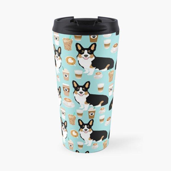 Welsh Corgi tri color amante del café regalos para perros corgis café latte pupuccino corgi crew Taza de viaje