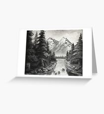 Black and White Mountains Greeting Card