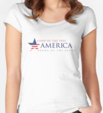 America Land of the Free Women's Fitted Scoop T-Shirt