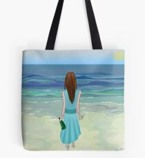 Woman Standing in Front of the Ocean with Bottle of Champagne and a Glass Tote Bag