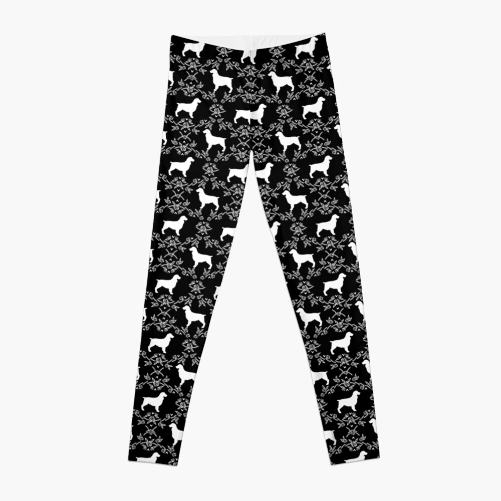 Boykin Spaniel silhouette floral dog breed pet pattern silhouettes of dogs Leggings