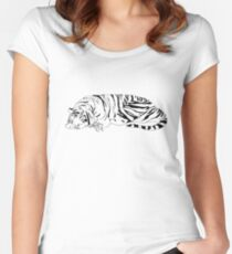Hobbes and Calvin B&W Women's Fitted Scoop T-Shirt