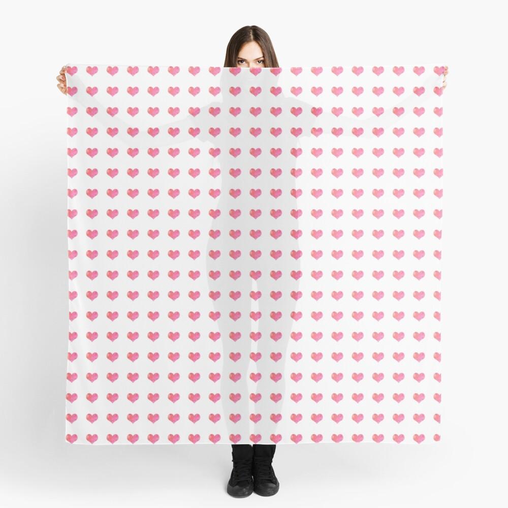 Watercolor Hearts Pattern 1 Scarf