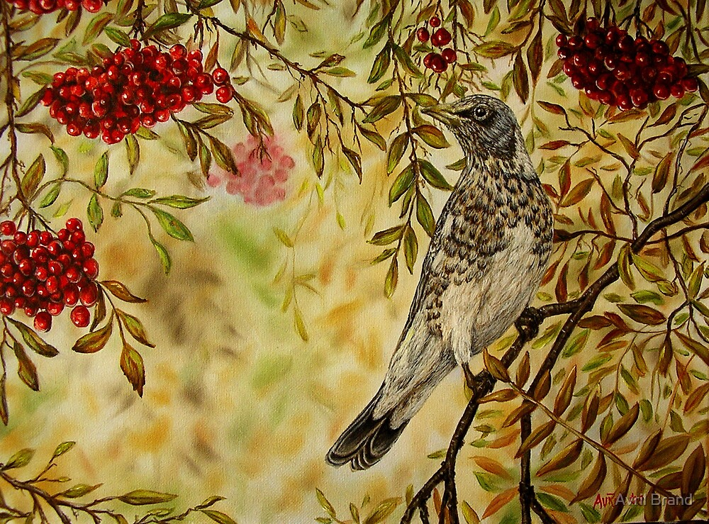"""""""Fieldfare"""" - Oil Painting by Avril Brand"""