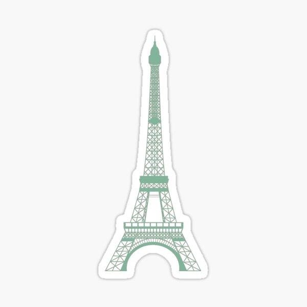 The Eiffel Tower Blueprint Green Sticker
