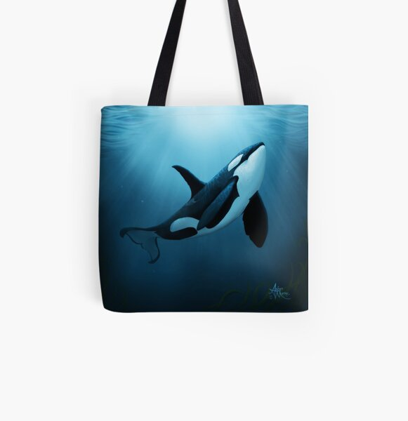 """The Dreamer"" by Amber Marine ~ (Copyright 2015) orca art / killer whale digital painting All Over Print Tote Bag"