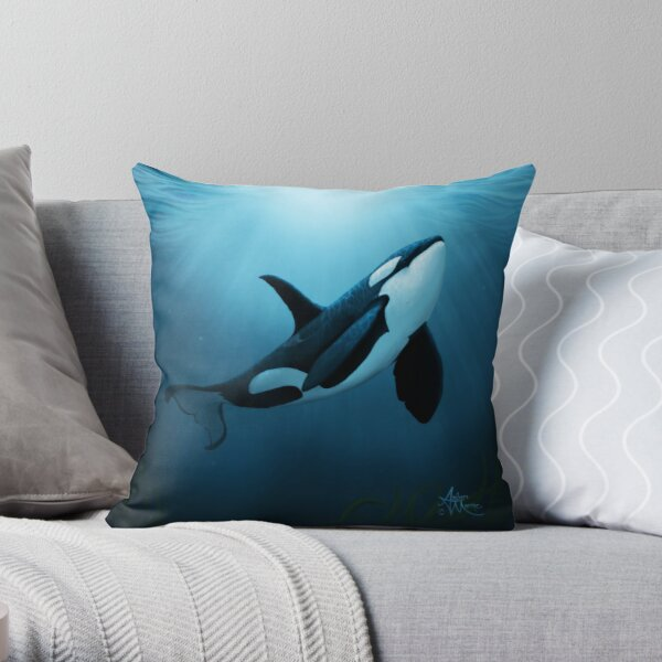 """""""The Dreamer"""" by Amber Marine ~ (Copyright 2015) orca art / killer whale digital painting Throw Pillow"""