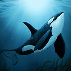 """""""The Dreamer"""" by Amber Marine ~ (Copyright 2015) orca art / killer whale digital painting by Amber Marine ~ Wildlife Artist ~ © 2004-2019"""