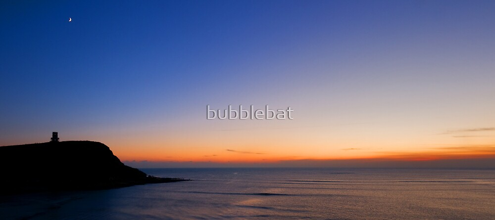 Sea, Sunset, Moon & Clavell Tower by bubblebat