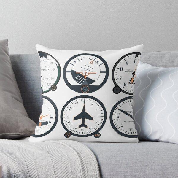 Basic Six Flight Instruments Throw Pillow
