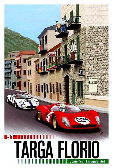 TARGA FLORIO; Jahrgang Grand Prix Auto Print von posterbobs