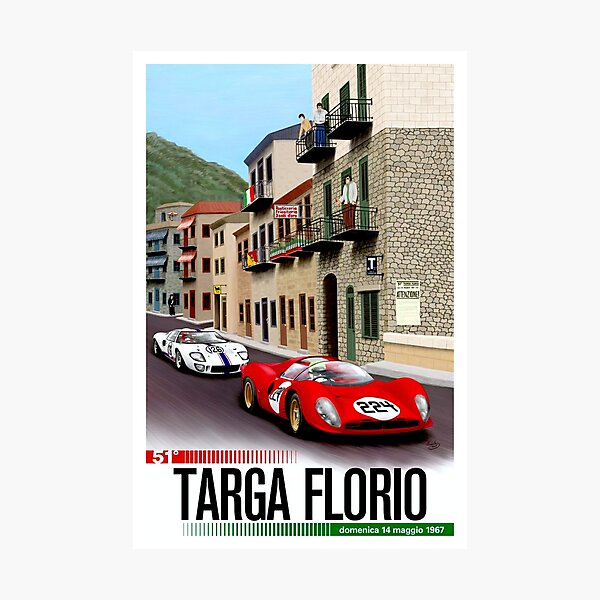 TARGA FLORIO; Vintage Grand Prix Auto Print Photographic Print