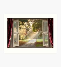 Open window view onto a country  Art Print