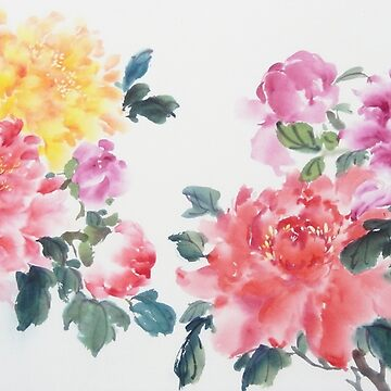 Chinese Painting of Colorful Flowers by PixelQube32