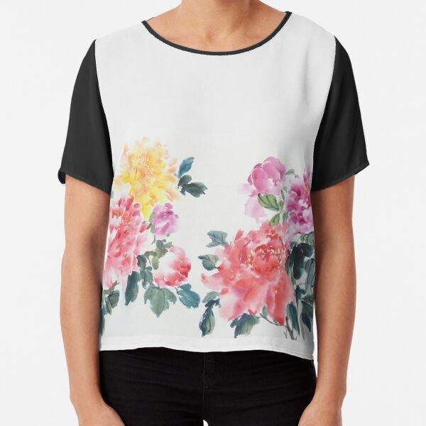 Chinese Painting of Colorful Flowers Chiffon Top