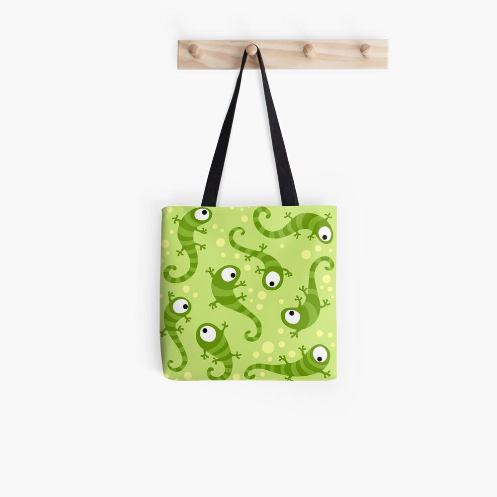 Crazy Gecko Green Tote Bag