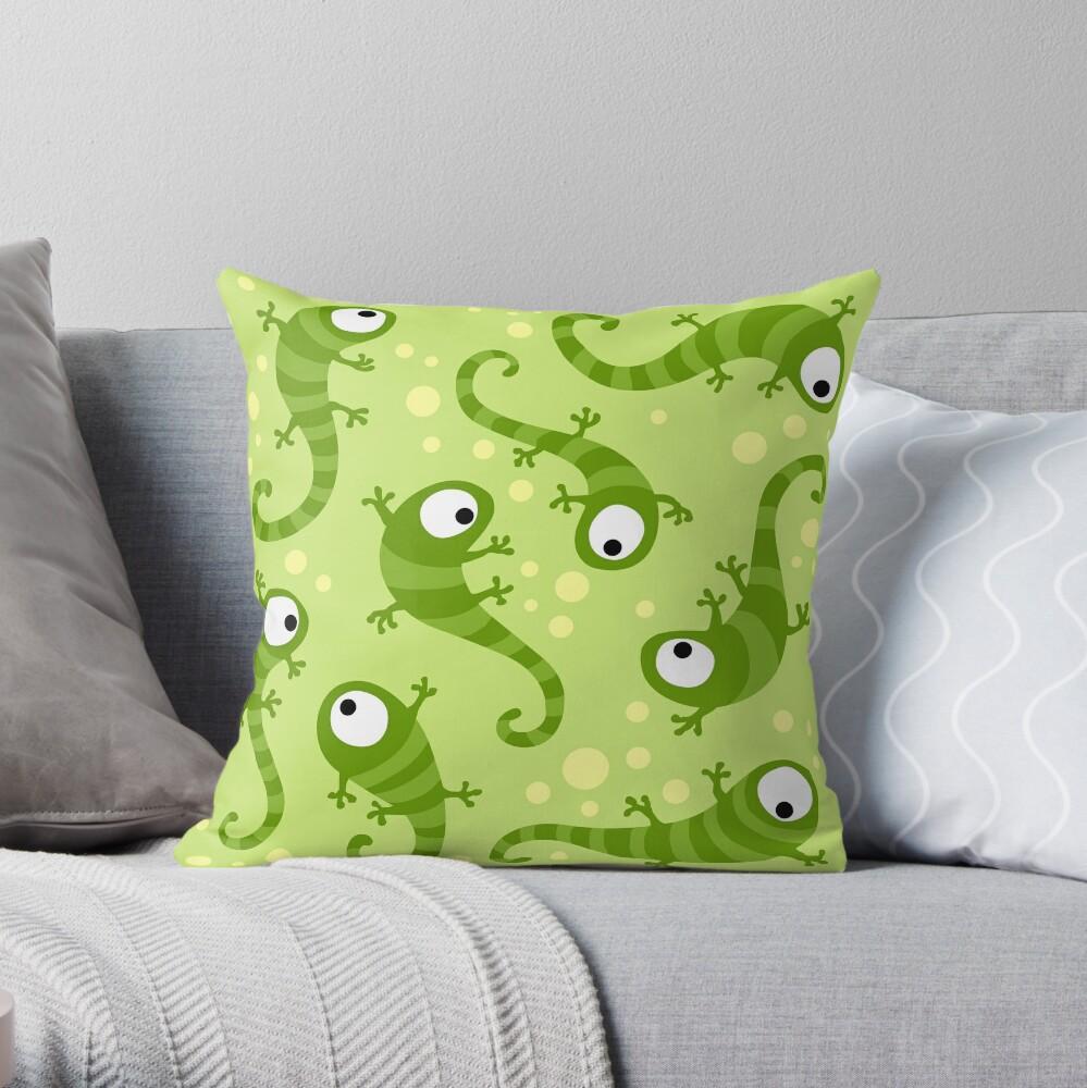 Crazy Gecko Green Throw Pillow