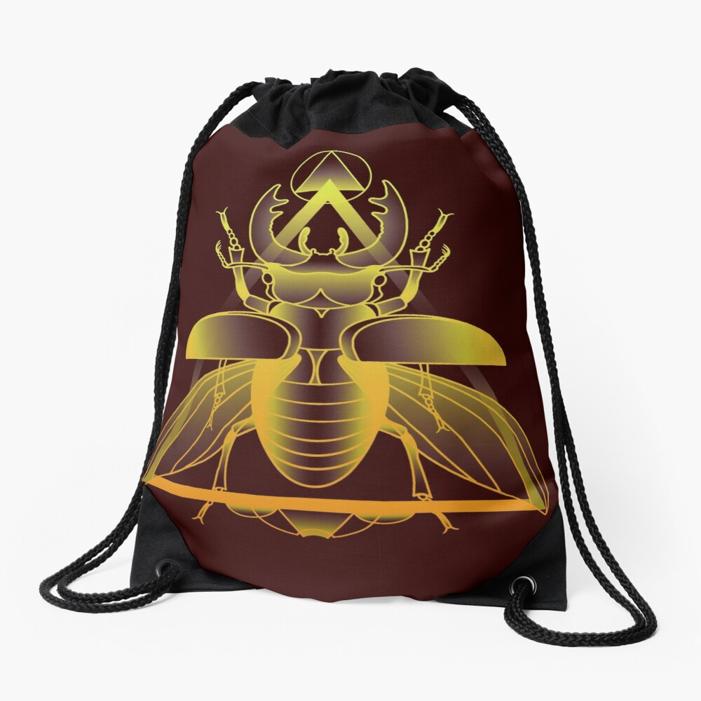 Stag Beetle (Golden) Drawstring Bag