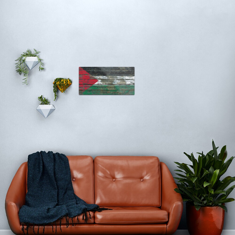 Flag of Palestine on Rough Wood Boards Effect Metal Print