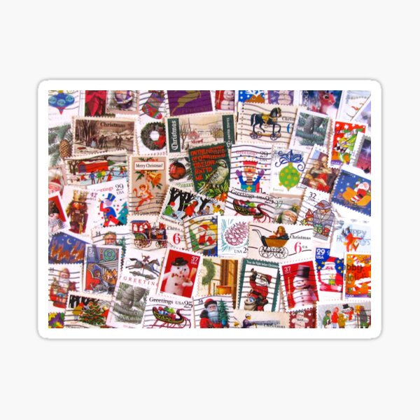 Scattered Christmas Postage Sticker