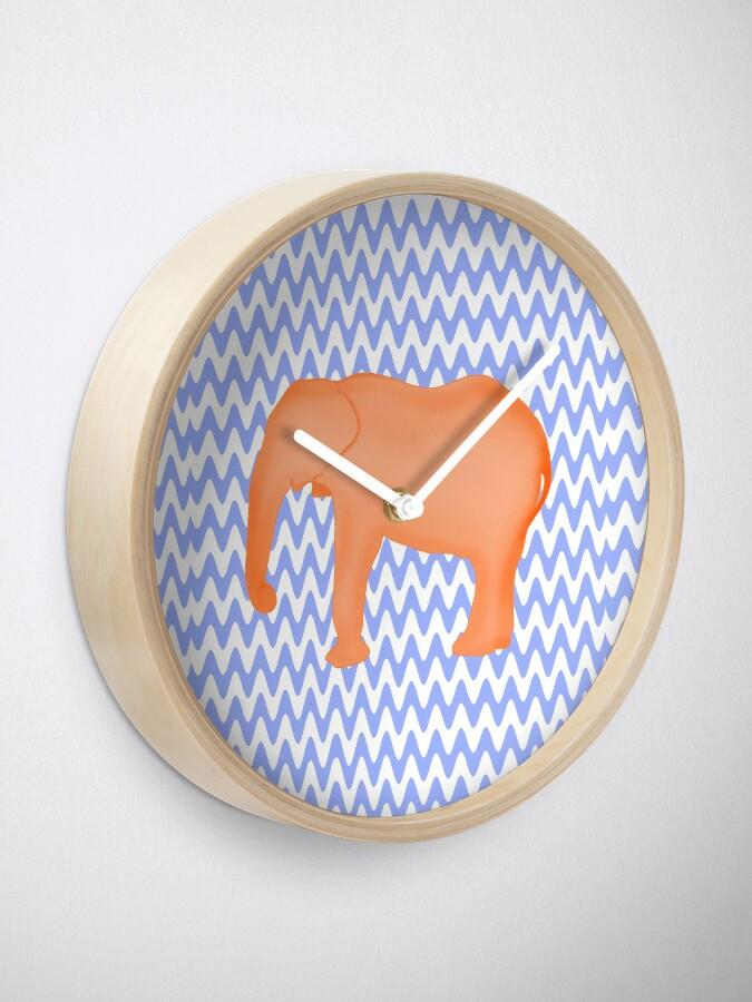 Alternate view of Baby Elephant Blue Burnt Orange Clock