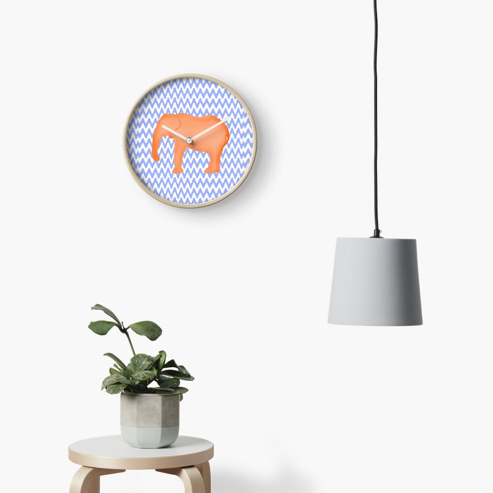 Baby Elephant Blue Burnt Orange Clock