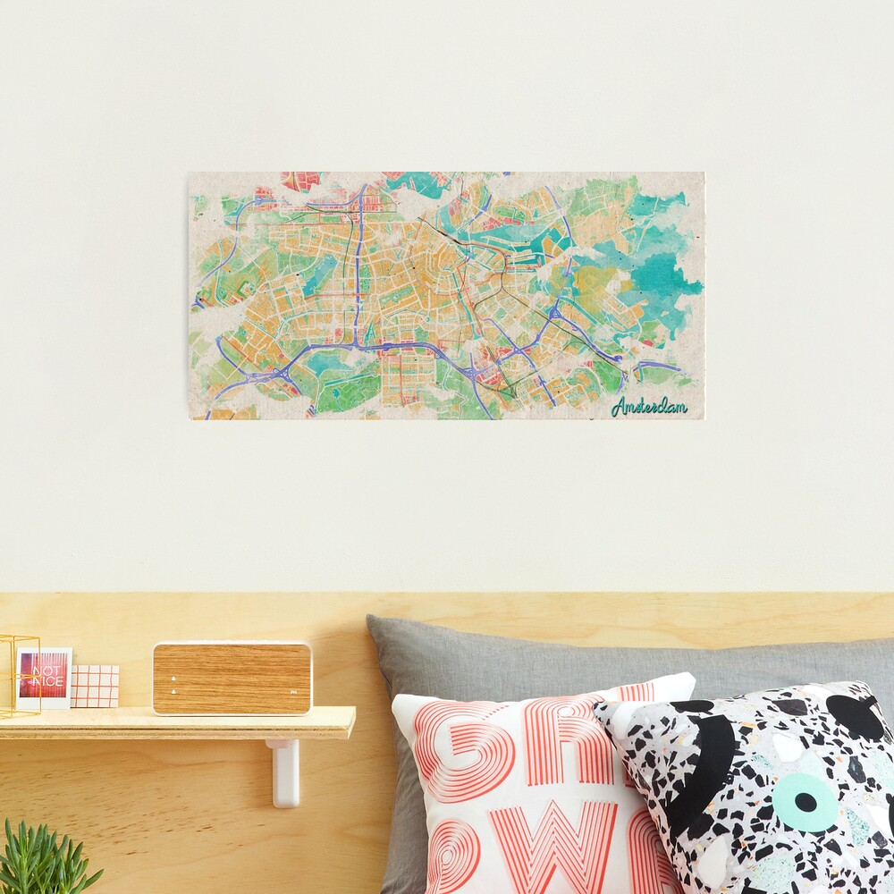 Amsterdam in Watercolor Photographic Print