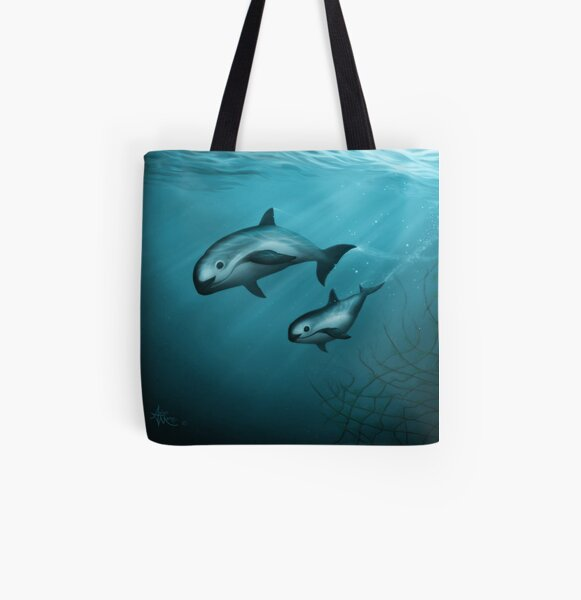 Treacherous Waters - Vaquita Porpoise Art (Copyright 2015) Original Digital Painting by artist Amber Marine  All Over Print Tote Bag