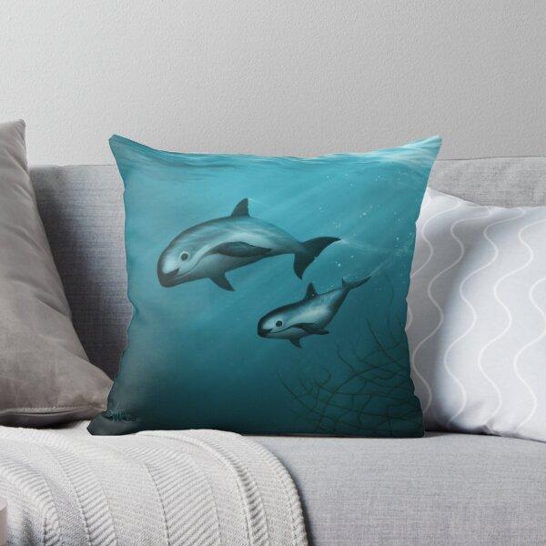Treacherous Waters - Vaquita Porpoise Art (Copyright 2015) Original Digital Painting by artist Amber Marine  Throw Pillow