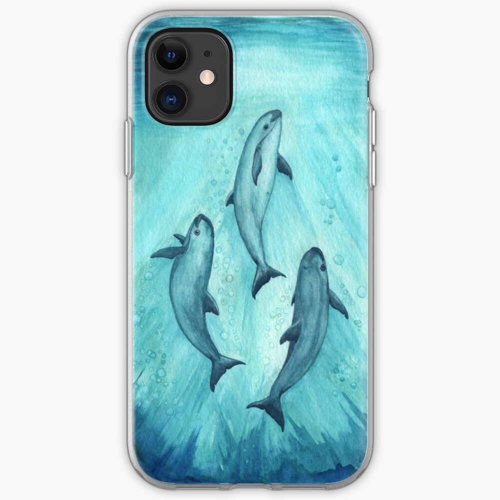 """Song of the Vaquita"" watercolor painting by Amber Marine ~ (Copyright 2015) ~ (Porpoise, Critically Endangered Species)    iPhone Soft Case"