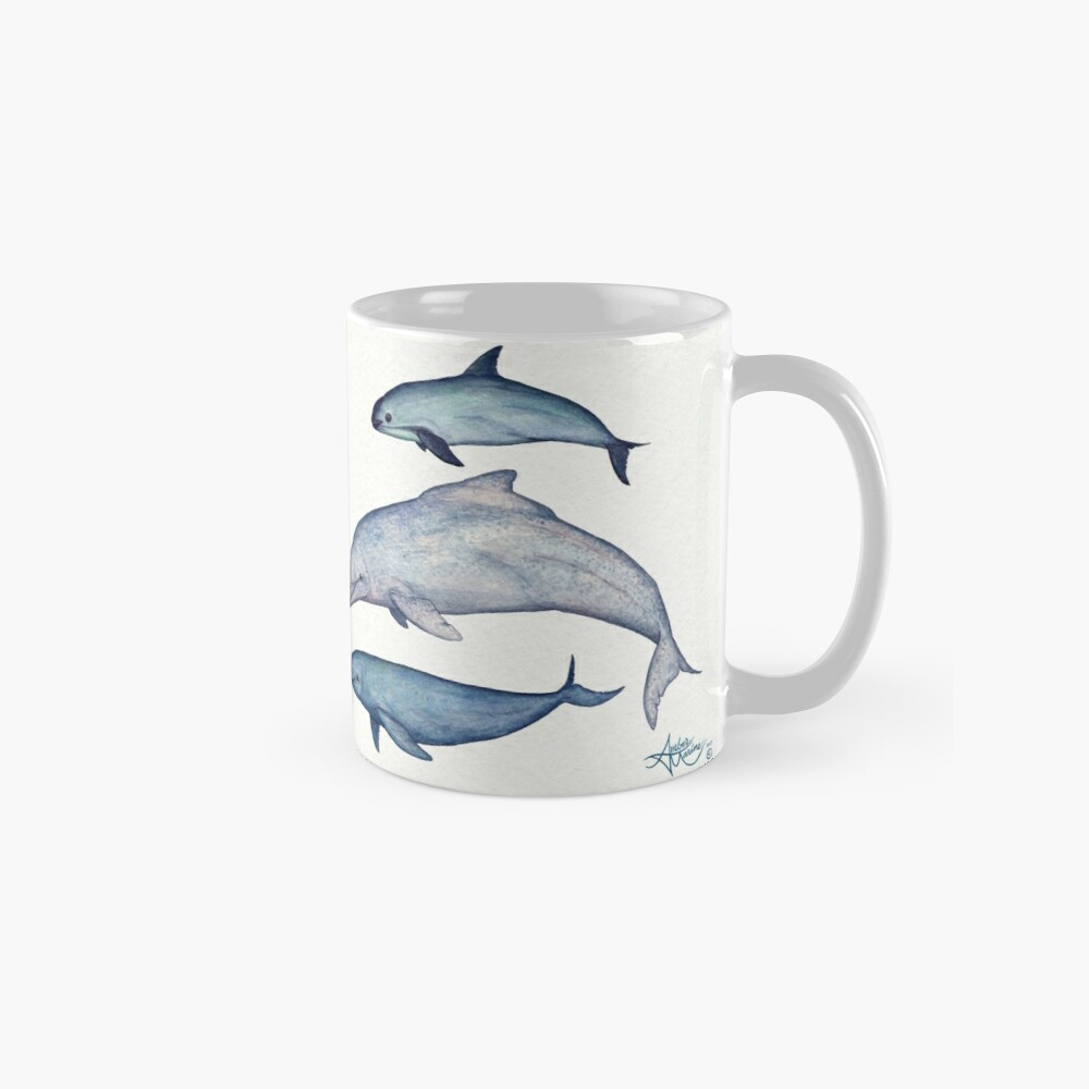 """""""Rare Cetaceans"""" by artist Amber Marine ~ (Copyright 2017) Watercolor dolphins and porpoises, © 2017 - Vaquita, irrawaddy, maui's, humpback, finless, baiji Classic Mug"""