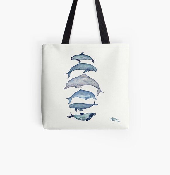 """""""Rare Cetaceans"""" by Amber Marine ~ (Copyright 2017) Watercolor dolphins and porpoises, © 2017 - Vaquita, irrawaddy, maui's, humpback, finless, baiji All Over Print Tote Bag"""