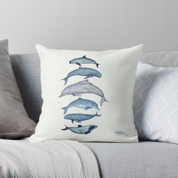 """""""Rare Cetaceans"""" by Amber Marine ~ (Copyright 2017) Watercolor dolphins and porpoises, © 2017 - Vaquita, irrawaddy, maui's, humpback, finless, baiji Throw Pillow"""