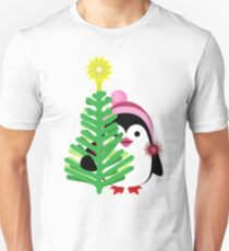 Cheerful holiday penguins on a blue background with holiday beads and snowflakes Unisex T-Shirt