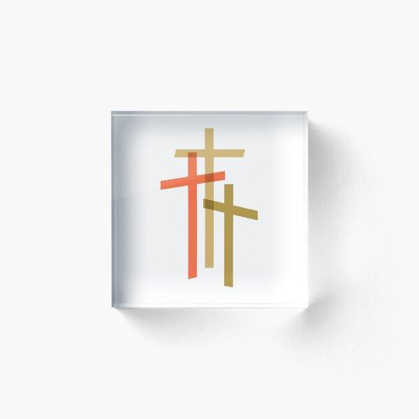 Three Crosses Acrylic Block