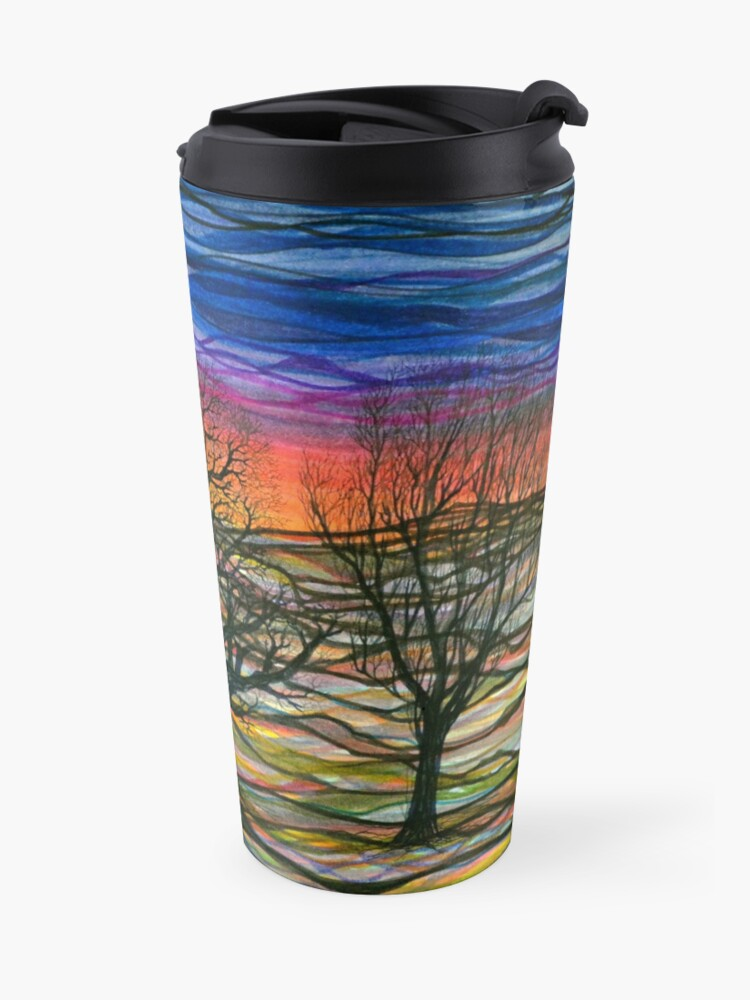 Alternate view of Abstract sunset repeating pattern Travel Mug