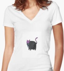 purple cat in suit Women's Fitted V-Neck T-Shirt