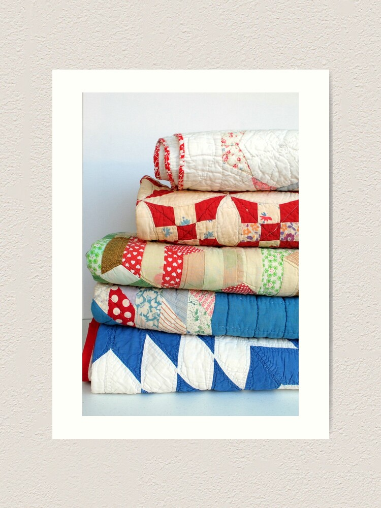 Alternate view of Stack of vintage patchwork quilts Art Print